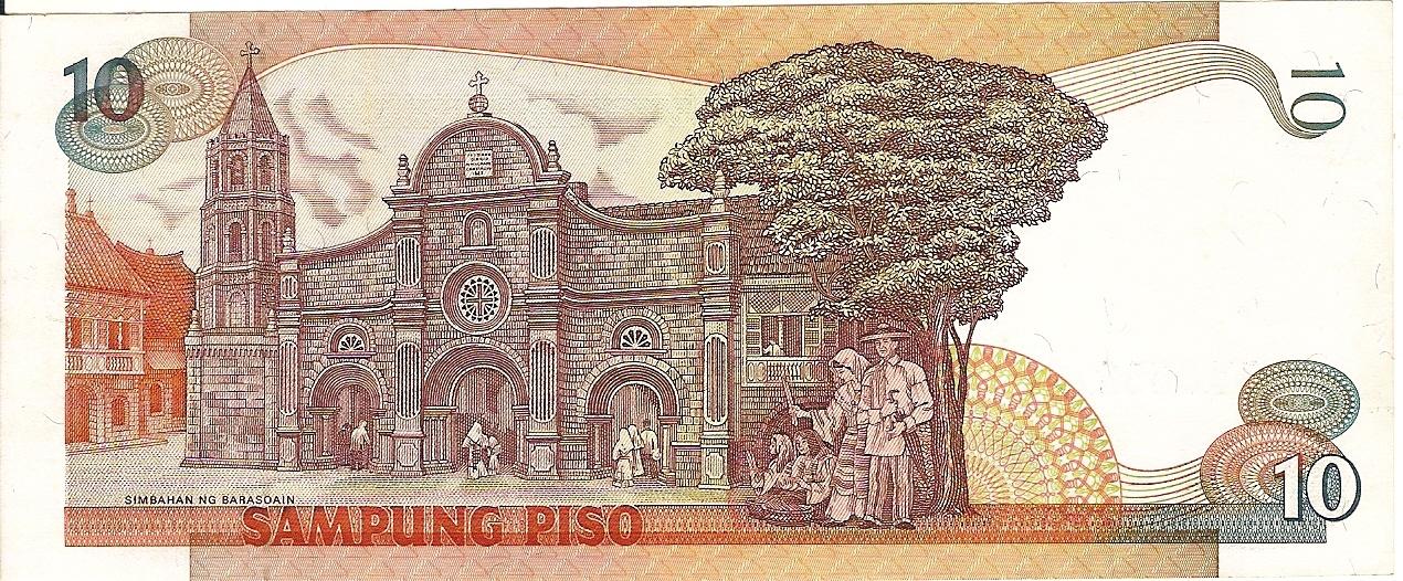 Republika ng Pilipinas Logo Drawing 10 Peso Bill Old Bsp Logo Back